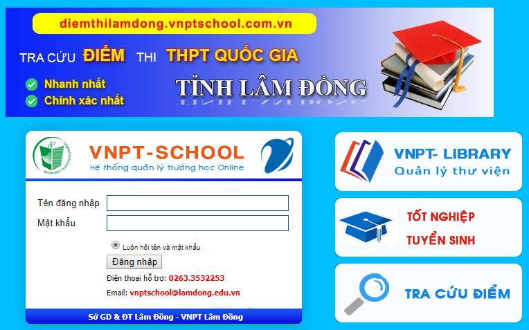 giao diện đăng nhập vnptschool