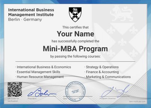 Sau khi hoàn thành khóa học Mini MBA bạn sẽ được cấp chứng chỉ chuyên môn.