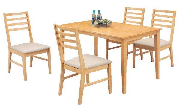 Bàn ăn gỗ cao su tự nhiên 4 ghế với thiest kế vô cùng đơn giản