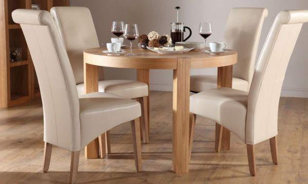 Bàn ăn gỗ cao su tự nhiên 4 ghế với nệm mút